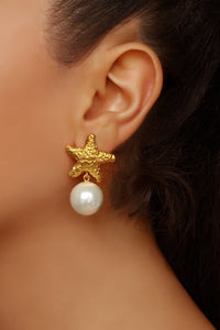 Alessandra Earrings- 24k Gold - Pearl