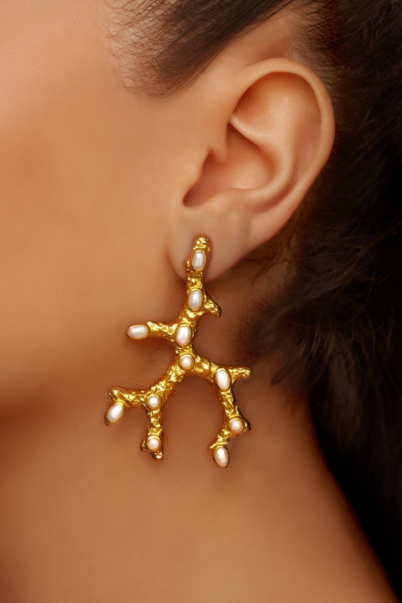 Aquata Earrings - 24k Gold - Pearl