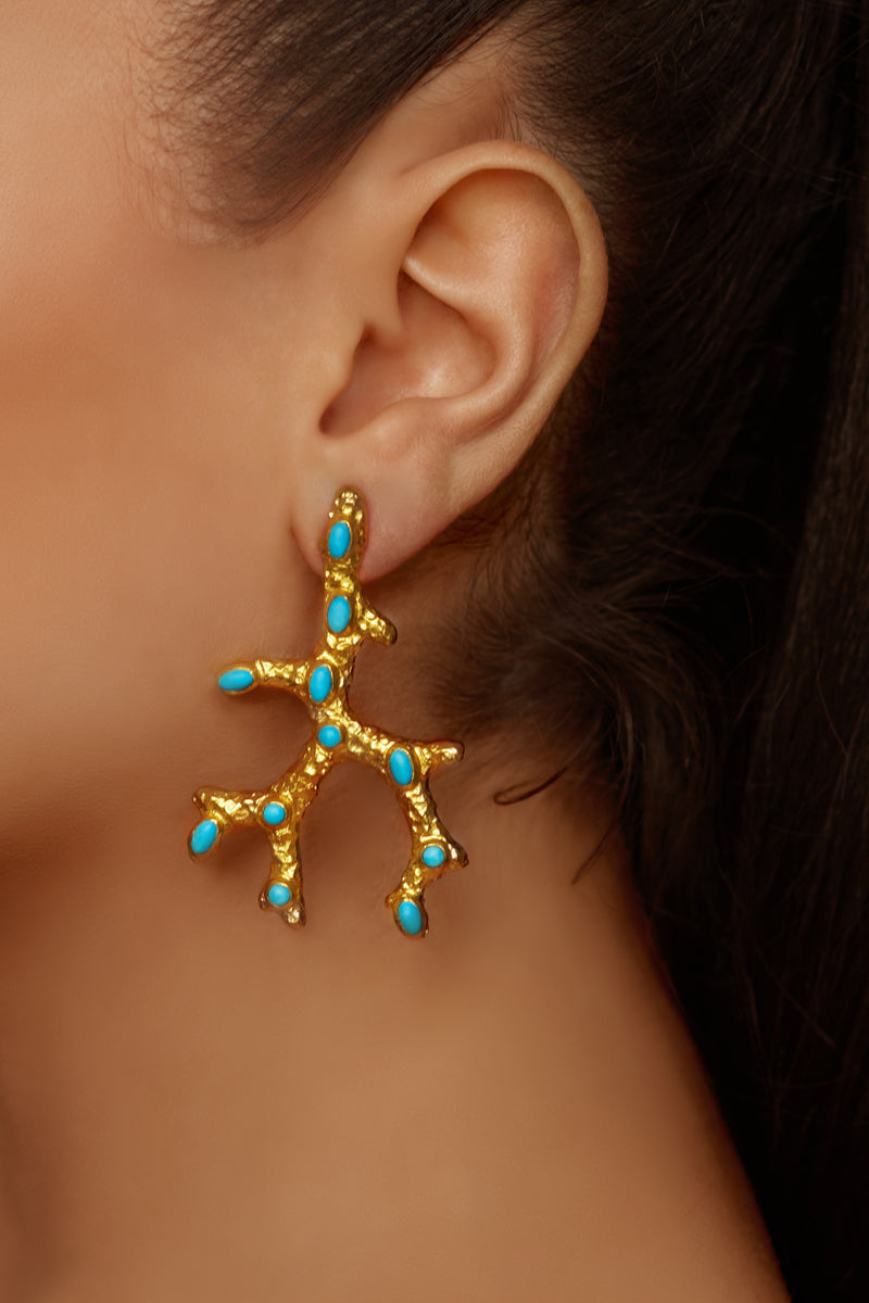 Aquata Earrings - 24k Gold - Turquoise