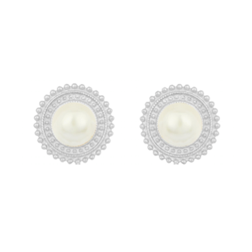 Adela Mini Earrings - Silver - Pearl - Angelina Alvarez