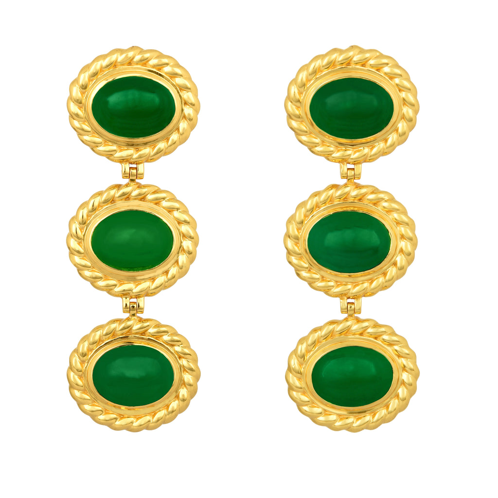 Alexandria Earrings - 24k Gold OR Silver - Green Onyx - Angelina Alvarez
