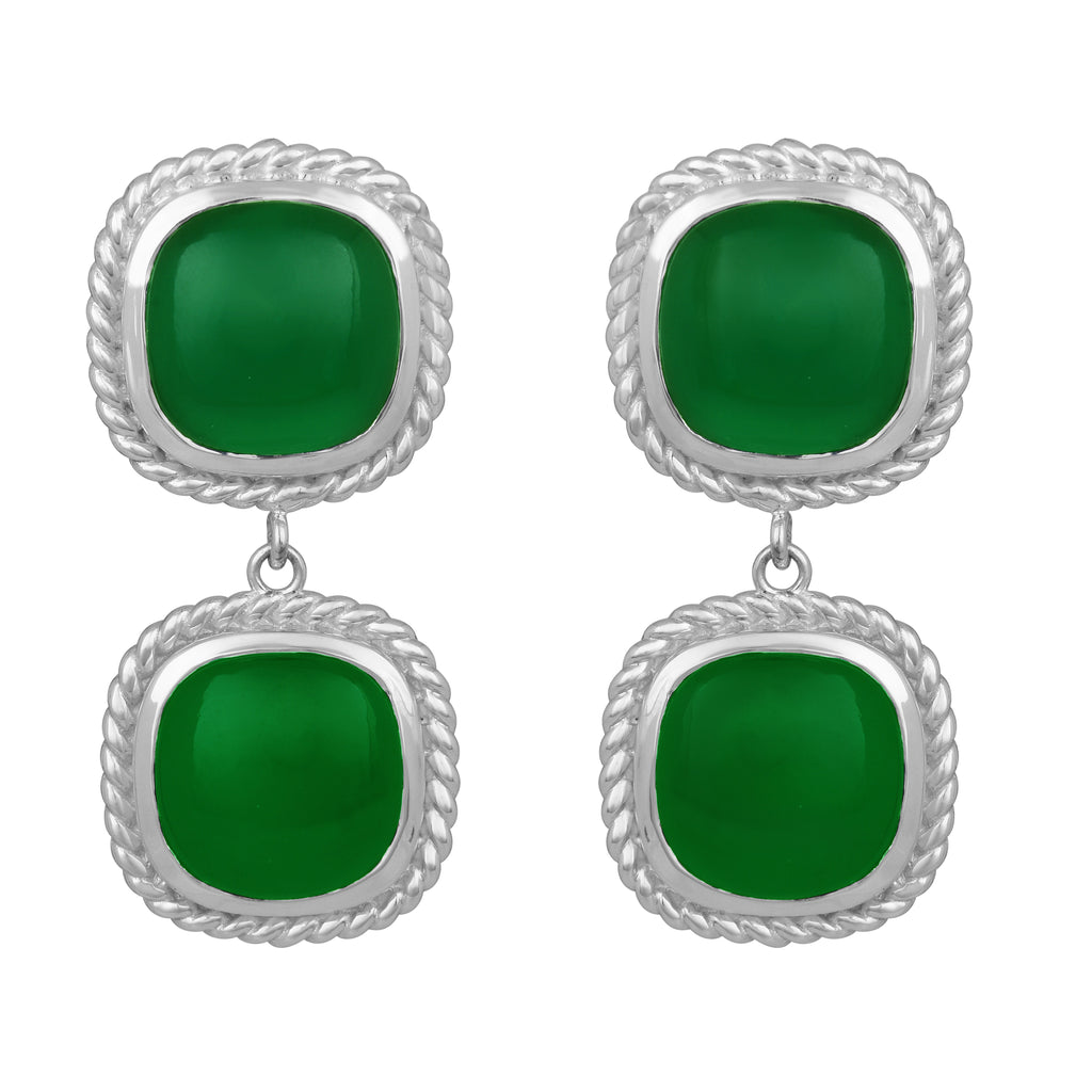Helena Earrings - Silver - Green Onyx - Angelina Alvarez