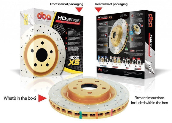 DBA MITSUBISHI LANCER EVO 5-9 BREMBO GSR ONLY XS 4000 SERIES FRONT ROTORS (PER PAIR)-Automotive Shed