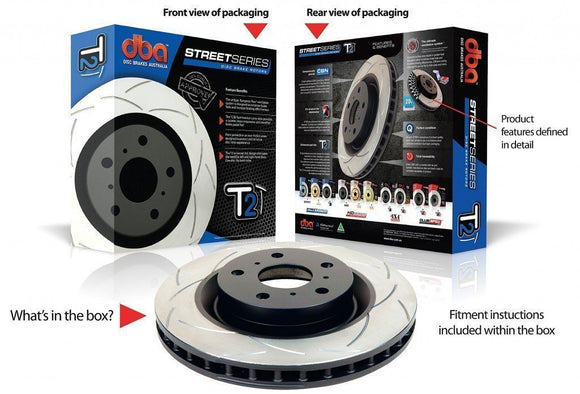 DBA SUBARU WRX STI BREMBO CONVERSION REAR ROTORS LIBERTY BL5 REAR T2 SERIES-Automotive Shed