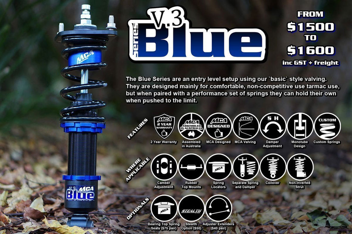 MCA Blue Series Coilovers (EVO 7-9)-Automotive Shed