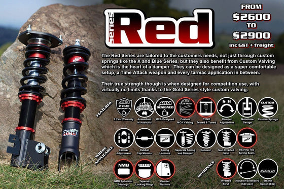 MCA Red Series Coilovers (EVO7-9)-Automotive Shed
