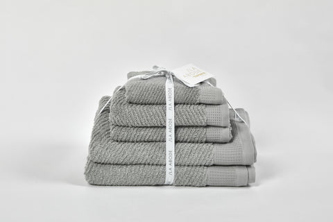 Luna Herringbone 5 Piece Towel Set - Dove Grey (free shipping)