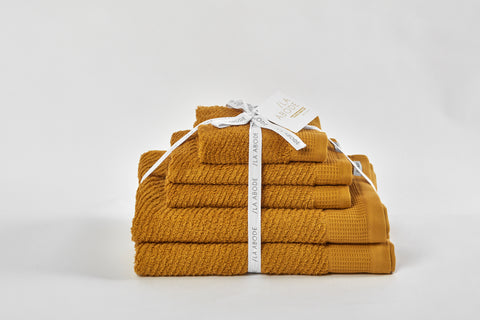 Luna Herringbone 5 Piece Towel Set - Turmeric (free shipping)