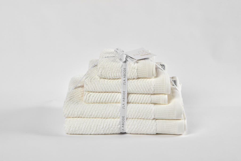 Luna Herringbone 5 Piece Towel Set - Snow (free shipping)