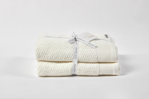 Luna Herringbone 2 Piece Towel Set - Snow (free shipping)