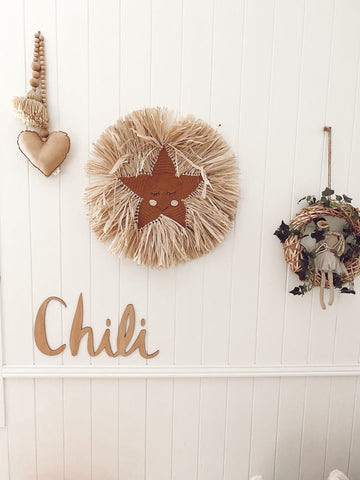 Raffia & Crochet Star Wall Hanging - Bronze