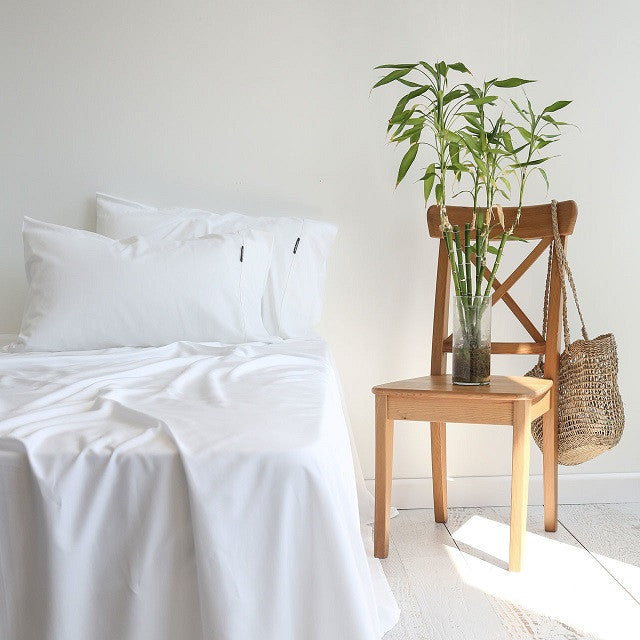 Canningvale Bamboo Carrara White Cotton Sheet Set