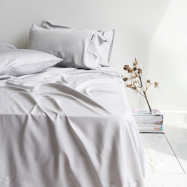 Canningvale Bamboo Perla Grey Cotton Sheet Set