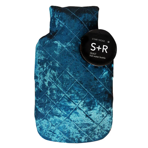 Navy Velvet Hot Water Bottle