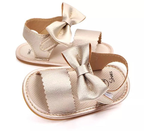 Gold Bow Sandals Hard Sole