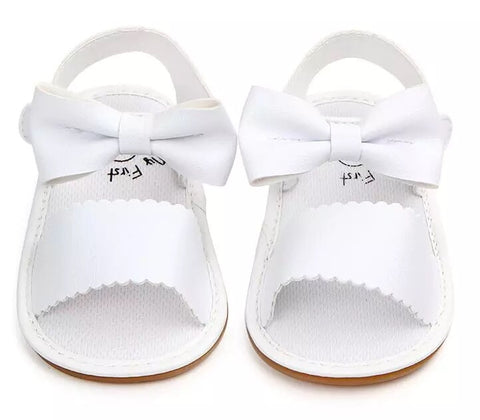 White Bow Sandals Hard Sole