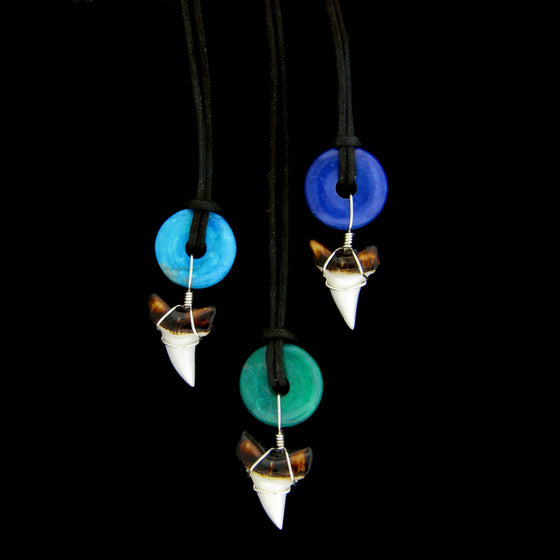 "7/8"" Mako/ Bull Shark Doughnut Stone Necklace"