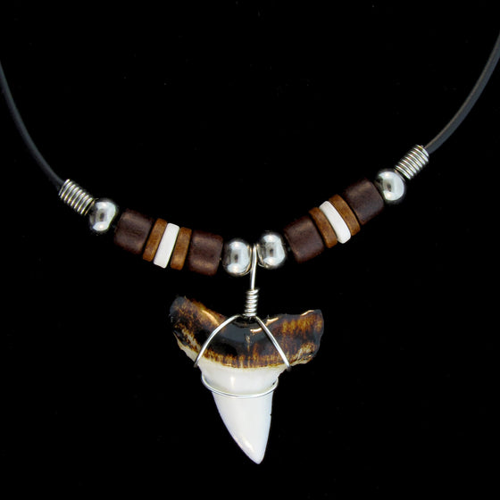 "1 & 1/2"" Extra Wide Mako Shark Burnt Top Big Bead Necklace"