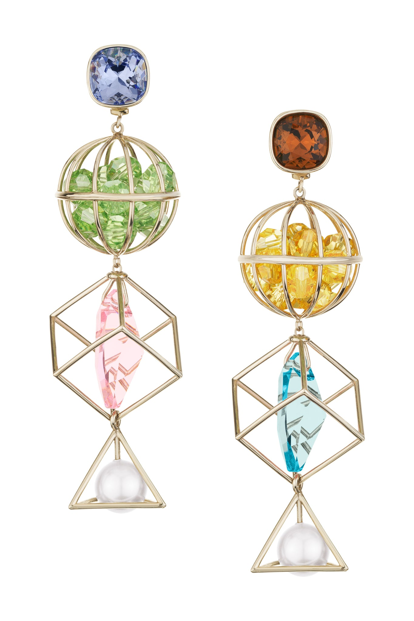 Mary Katrantzou Nostalgia Drop Pierced Earrings Light Multi