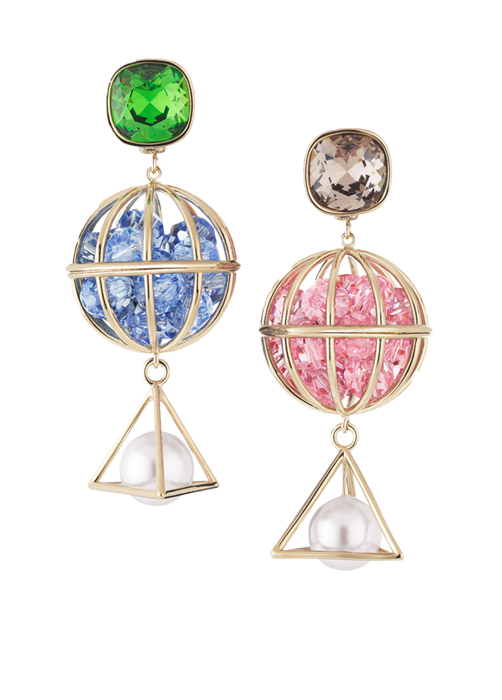 Mary Katrantzou Nostalgia Triple Drop Pierced Earrings Light Multi NG01fXX4M