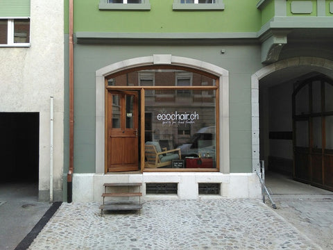 Shop front with large window and cobblestones breisacherstrasse