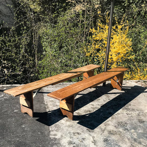 Rustic wood benches