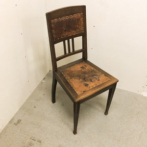 Antique oak/leather chair