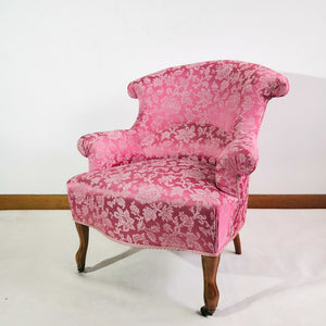 Antique pink brocade chair