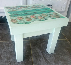 Upcycled, handpainted wooden stools