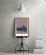 1941 WLA MOTORCYCLE WALL ART PRINT