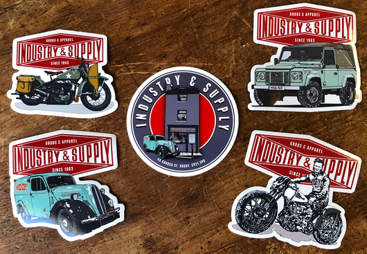 SET OF 5 INDUSTRY & SUPPLY STICKERS