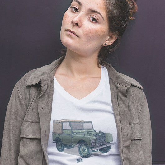 LAND ROVER HUE 166 LADIES V-NECK T-SHIRT