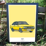 MK2 FORD ESCORT WALL ART PRINT
