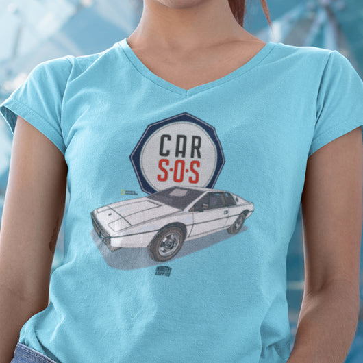 CAR S.O.S. BRAND LOTUS ESPRIT LADIES V-NECK T-SHIRT