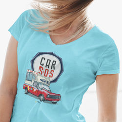 CAR S.O.S. ICE CREAM TRUCK LADIES V-NECK T-SHIRT