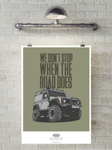 """WE DON'T STOP"" LAND ROVER DEFENDER 90 ART PRINT"