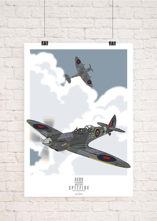 AERO LEGENDS DUO SPITFIRE ART PRINT