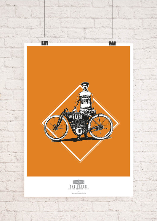 THE FLYER MOTORCYCLE WALL ART PRINT