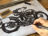Henderson Motorcycle Drawing