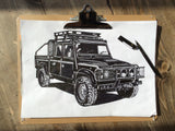 """WE DON'T STOP"" LAND ROVER DEFENDER 110 PICKUP ART PRINT"