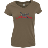 AERO LEGENDS UTILITY NH341 2-SEATER SPITFIRE LADIES V-NECK T-SHIRT