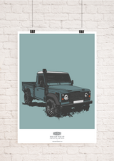 LIMITED EDITION LAND ROVER DEFENDER HIGH CAP PICK UP ART PRINT