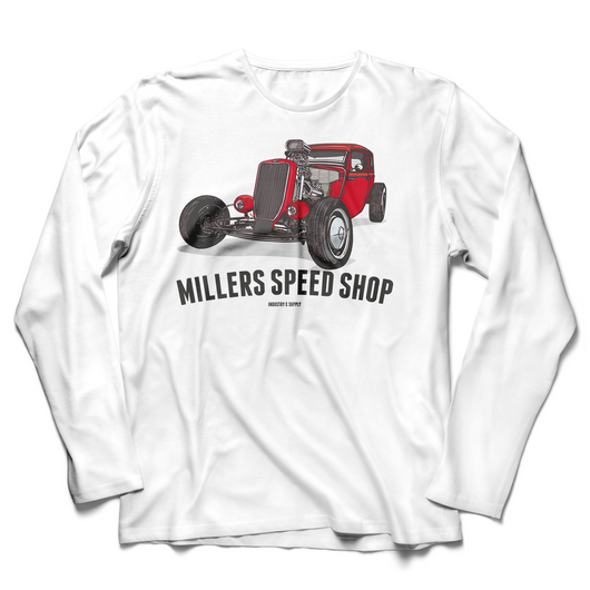 FRONT PRINT MILLERS SPEED SHOP LONG SLEEVE T-SHIRT