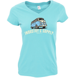 SUMMER OF 17 VW BUS LADIES V-NECK SHIRT