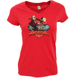 DINGLES FAIRGROUND MOON ROCKET LADIES FIT V-NECK T-SHIRT