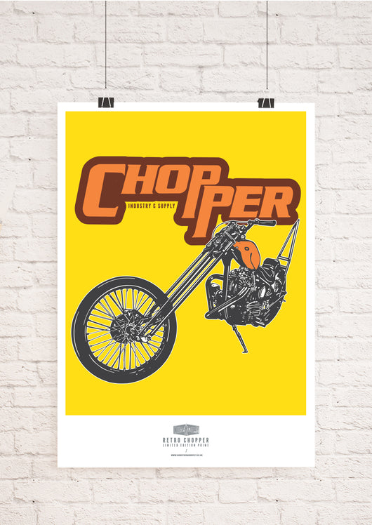LIMITED EDITION RETRO CHOPPER BIKE ART PRINT