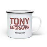 TONY THE ENGRAVER ENAMEL MUG