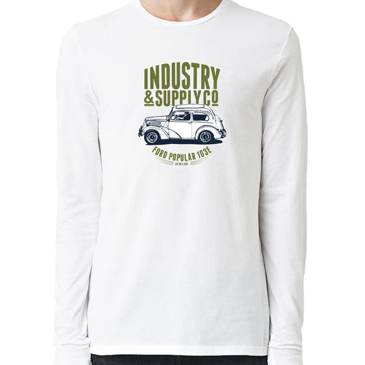 Ford Popular 103E Industry & Supply Utility Design White Long Sleeve Shirt