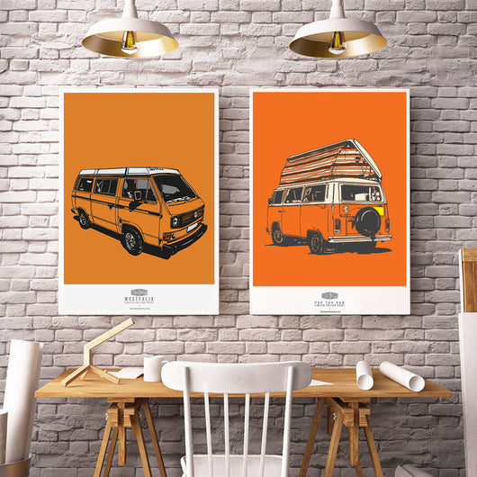 VOLKSWAGEN SET OF 2 ART PRINTS BUNDLE