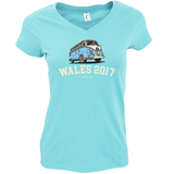 HOLIDAY DESTINATION VW BUS LADIES FIT V-NECK T-SHIRT